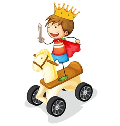 boy on toy horse vector image vector image