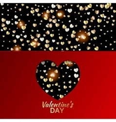 Gold hearts valentine day greeting red card vector image vector image
