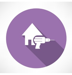 house and drill icon vector image