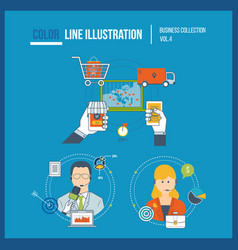 marketing shopping start up financial strategy vector image vector image
