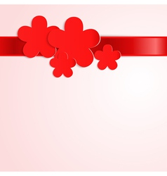 Pink background with red paper flowers vector image