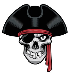 pirate skull with hat and eye patch vector image vector image