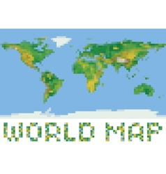 pixel art style world physical map with green and vector image