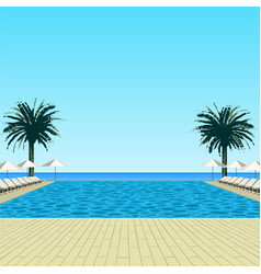 pool palms and sky vector image
