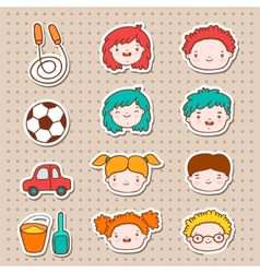 Doodle kids faces icons vector image