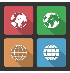 Globe Earth Icons with Long Shadow vector image