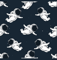 many cute spacemans flying in outer space vector image