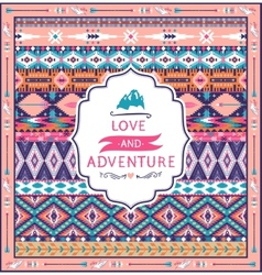 Navajo seamless tribal pattern with quotes on vector image
