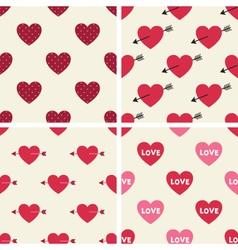 Seamless hearts patterns set vector image