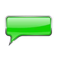 speech bubble green 3d icon with chrome frame vector image vector image