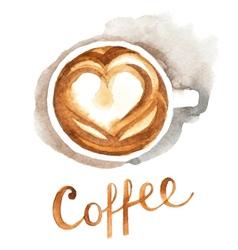 watercolor coffee cup vector image