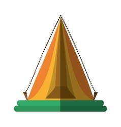 yellow triangle tent tourism travel shadow vector image vector image