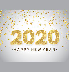 2020 happy new year background with bright golden vector image