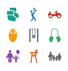 9 kid icons vector image