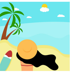 a young elegant woman in hat sitting on beach vector image