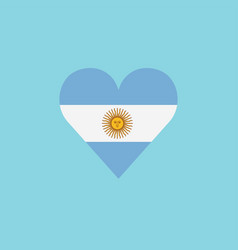 argentina flag icon in a heart shape in flat vector image