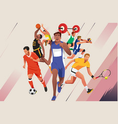 Athletes in different sports poster vector