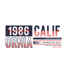 Athletic california 1986 typography design vector