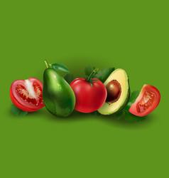 Avocado and tomato vector