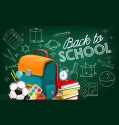 back to school poster with sketch chalk lettering vector image