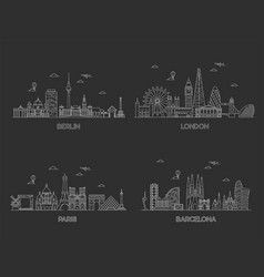 berlin london paris barcelona cities vector image
