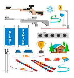 biathlon icons set biathlon accessories vector image