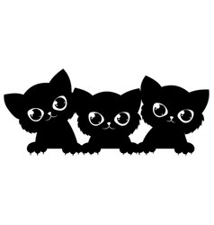 black cats looking out window cartoon cats vector image