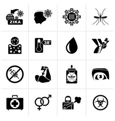 Black zika virus pandemic icons vector