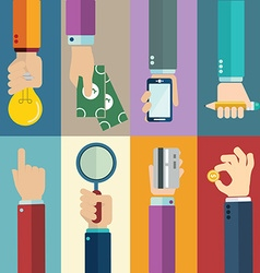 business concepts in flat style - hands icons vector image