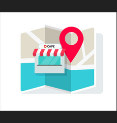 cafe shop or store location with pin pointer and vector image