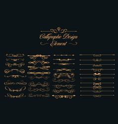 calligraphic design elements set vector image