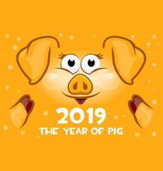 cartoon greeting banner in the year of the orange vector image