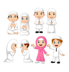 cartoon muslim kid collection set vector image