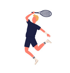 Cartoon sportsman smash racket playing big tennis vector