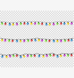 christmas glowing lights garlands with colored vector image