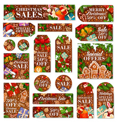 Christmas sale tag and new year discount label vector