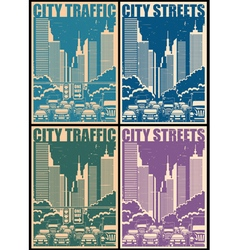 city streets retro posters vector image