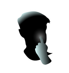 Close-up hand pick his nose men face guy clean vector