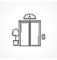 Closed elevator door black line icon vector