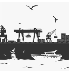 Commercial Sea Port vector