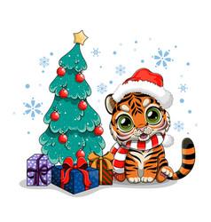 Cute cartoon tiger near christmas tree vector