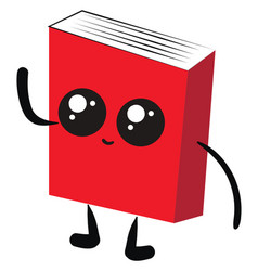cute red book on white background vector image