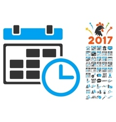 Date And Time Icon With 2017 Year Bonus Pictograms vector image
