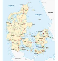 denmark road map vector image