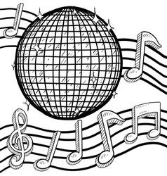 doodle disco ball music vector image