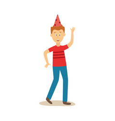 flat man dancing in party hat vector image
