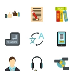 Foreign language icons set flat style vector image