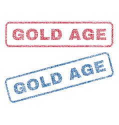 Gold age textile stamps vector