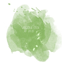Green watercolor stain on white background vector image