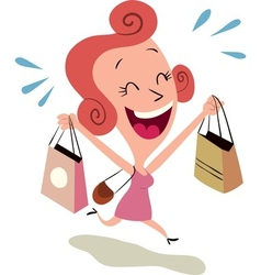 Happy woman shopping vector